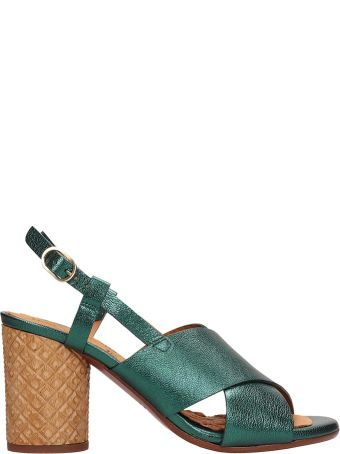 Chie Mihara Green Metallic Leather Sandals