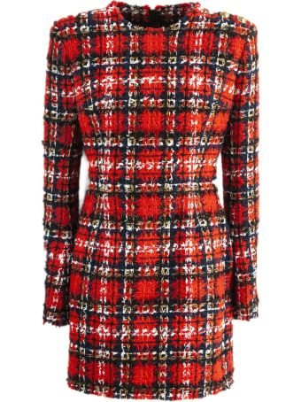 Balmain Tartan Tweed And Lurex Dress