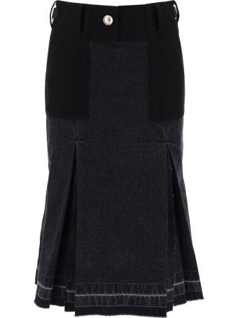 Sacai Bi-material Denim Skirt