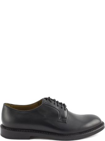 Doucal's Black Leather Derby Shoes.