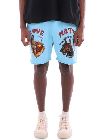 Warren Lotas Blue Graphic Raw Sweatshorts