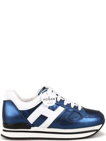 Hogan H222 Blue Matte Laminated Sneakers Hxw2220t548kg40009z
