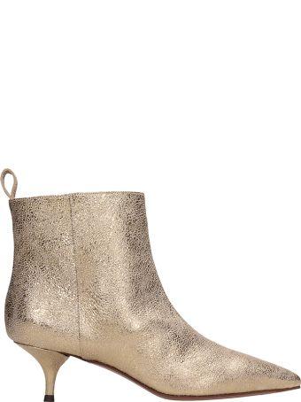 L'Autre Chose Gold Crach Leather Ankle Boot