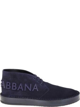 Dolce & Gabbana Dolce & Gabban Derby In Suede Skin Blue Color