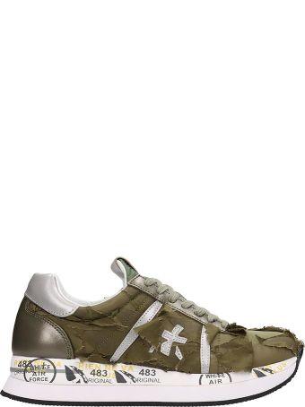 Premiata Green Fabric Conny Sneakers
