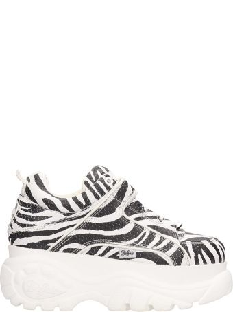 Buffalo Low White And Black Leather Zebra Platform Sneakers