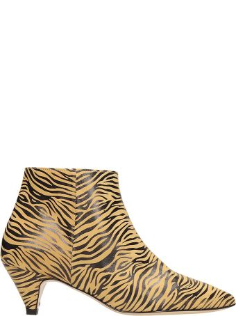 Alchimia Tiger Print Suede And  Leather Ankle Boots