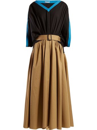 J.W. Anderson Asymmetric Cotton-twill Belted Maxi Dress