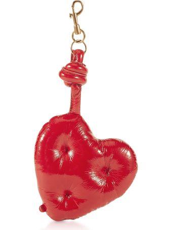Anya Hindmarch Dark Red Naplak Chubby Heart Charm