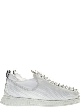 Miu Miu Embellished Slip-on White Sneakers