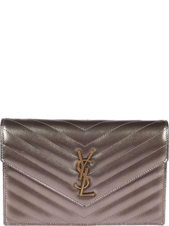 Saint Laurent Monogram Grain De Poudre Shoulder Bag