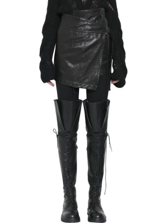 Ann Demeulemeester Leather Wraparound Skirt