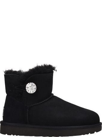 UGG Mini Bailey Button Bling Black Suede Boots