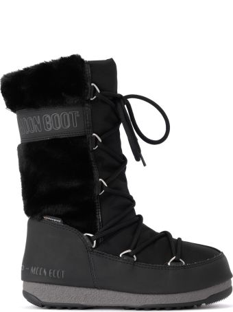 Moon Boot  Monaco Hi Fur Eco Fur And Black Fabric Moon Boot