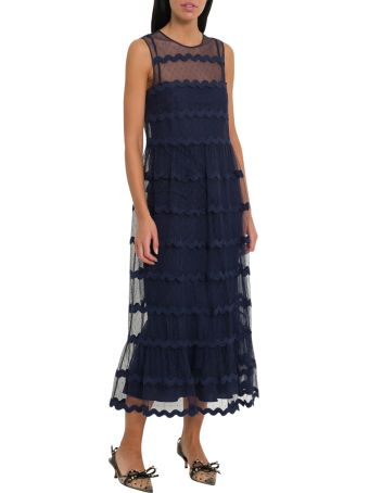 RED Valentino Plumetis Long Dress With Wave Motif