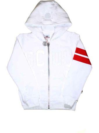 GCDS Mini White Sweatshirt With Hood