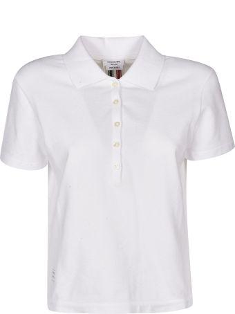 Thom Browne Grosgrain Trim Piqué Polo Shirt