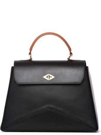 Ballantyne Diamond Bag M In Black Leather And Tan Handle