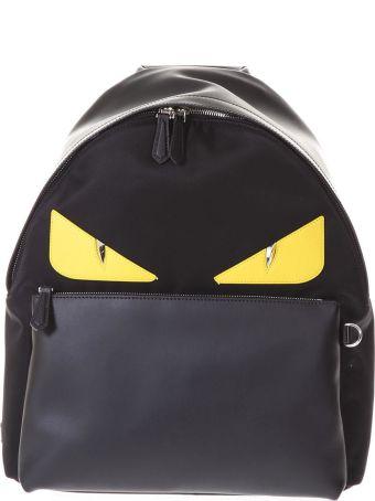 Fendi Bag Bugs Black & Yellow Leather & Nylon Backpack