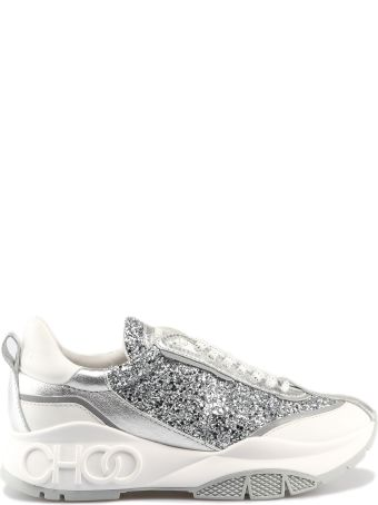Jimmy Choo Raine Glittery Laced-up Sneakers
