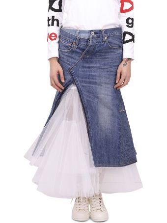 Junya Watanabe Denim And Tulle Skirt