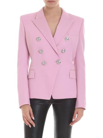 Balmain Pink Virgin Wool Blazer