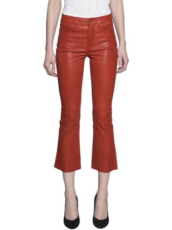 Frame Leather Cropped Jeans