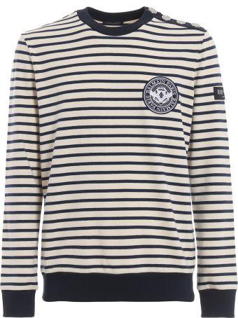 Balmain Striped Sweatshirt With Buttoned Shoulder Rh13145j014gae