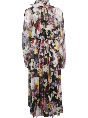 Dolce & Gabbana Floral Print Long Pleated Dress
