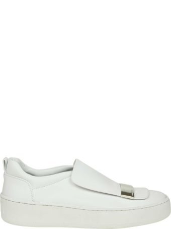 Sergio Rossi White Leather Sneakers With Applied Plate