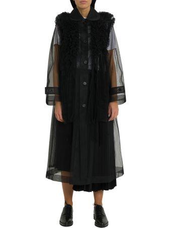 Noir Kei Ninomiya Oversized Ruffled Pleated Mesh Coat