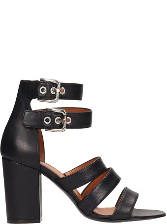 Via Roma 15 Black Leather Sandals