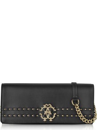 Roberto Cavalli Black Leather Clutch W/chain Shoulder Strap And Studs