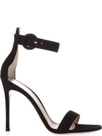 Gianvito Rossi Black Suede Sandals With 110mm Heel