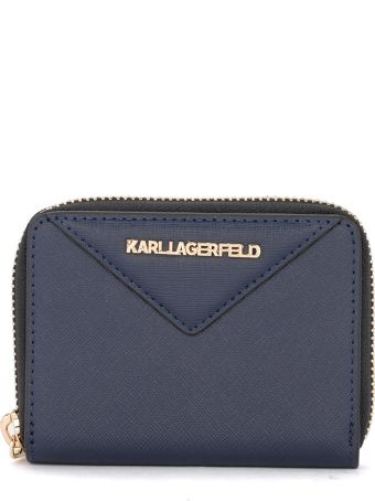 Karl Lagerfeld Klassik Blue Leather Coin Purse