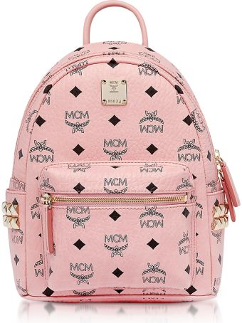 MCM Pink Mini Stark Backpack