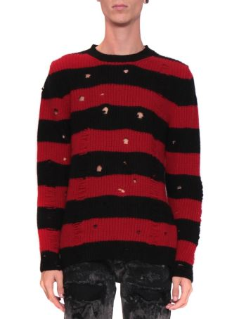 Overcome Wool Blend Striped Distressed Sweater