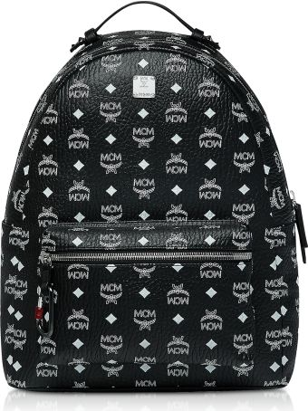 MCM Black Stark Backpack W/white Logo Visetos 40