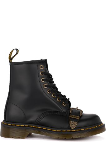 Dr. Martens 1460 Buckle Black Leather Ankle Boots With Buckle