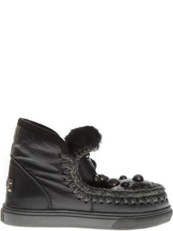 Mou Black Mink Fur Studs Sneaker Boots