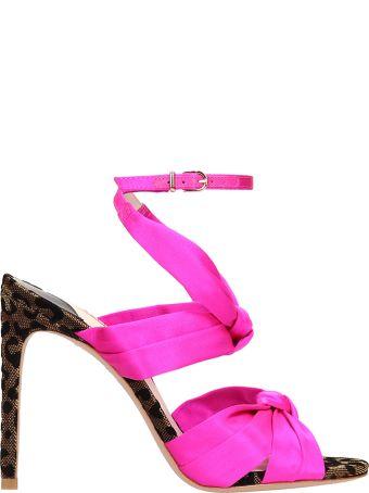 Sophia Webster Fuchsia Satin Sandals