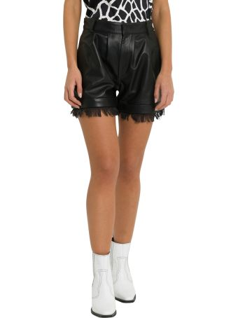 Federica Tosi Faux Leather  Shorts With Finge
