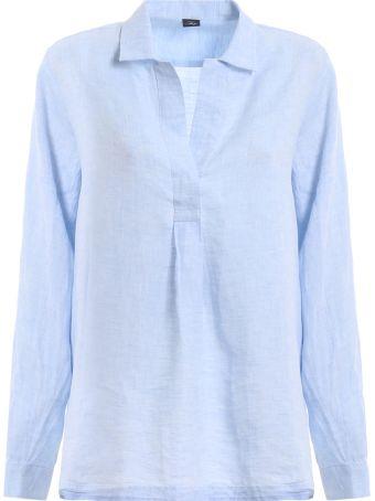 Fay Light Blue Linen Shirt Ncwa138a12lqtcu006