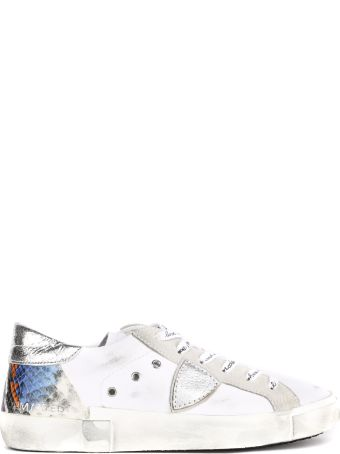 Philippe Model White Leather Sneakers With Python Detail