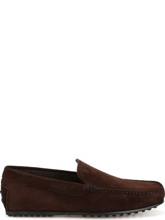 Tod's City Gommino Dark Brown Suede Loafers Xxm0lr00040re0s800
