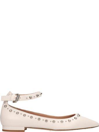 Julie Dee White Leather Ballarinas