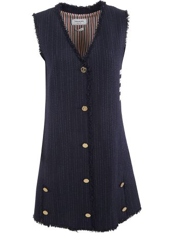 Thom Browne Frayed Tweed Mini A-line Vest Dress