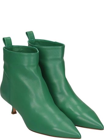 Anna F. Low Heels Ankle Boots In Green Leather