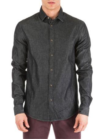 Emporio Armani  Long Sleeve Shirt Dress Shirt In Denim Jeans Slim Fit