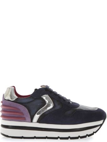 Voile Blanche May High Lilac & Denim Leather Sneakers